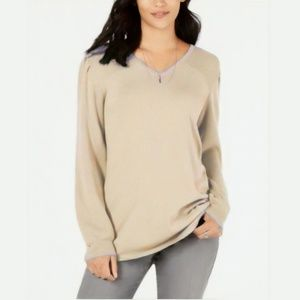 NWT Style & Co Pleated-Sleeve Tunic Sweater Beige